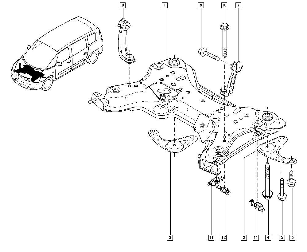 Espace IV, JK0J, Manual, 31 Front bearing elements / Front