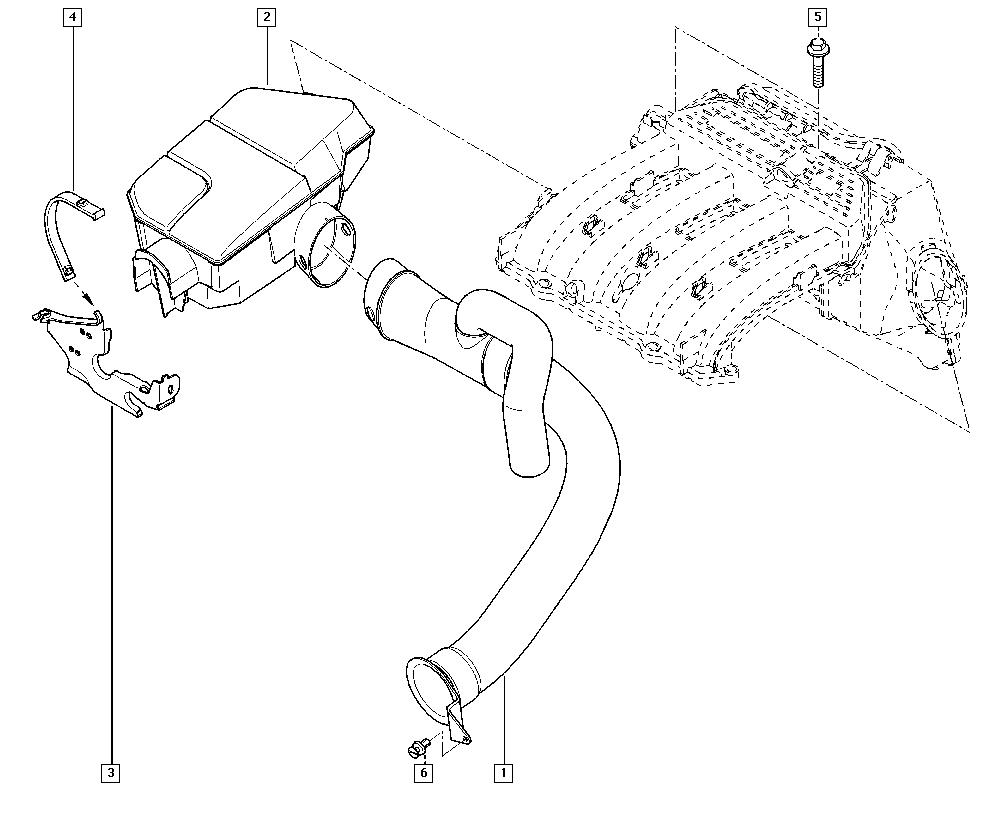 Espace IV, JK0K, Manual, 13 Fuel supply / Air filter hoses