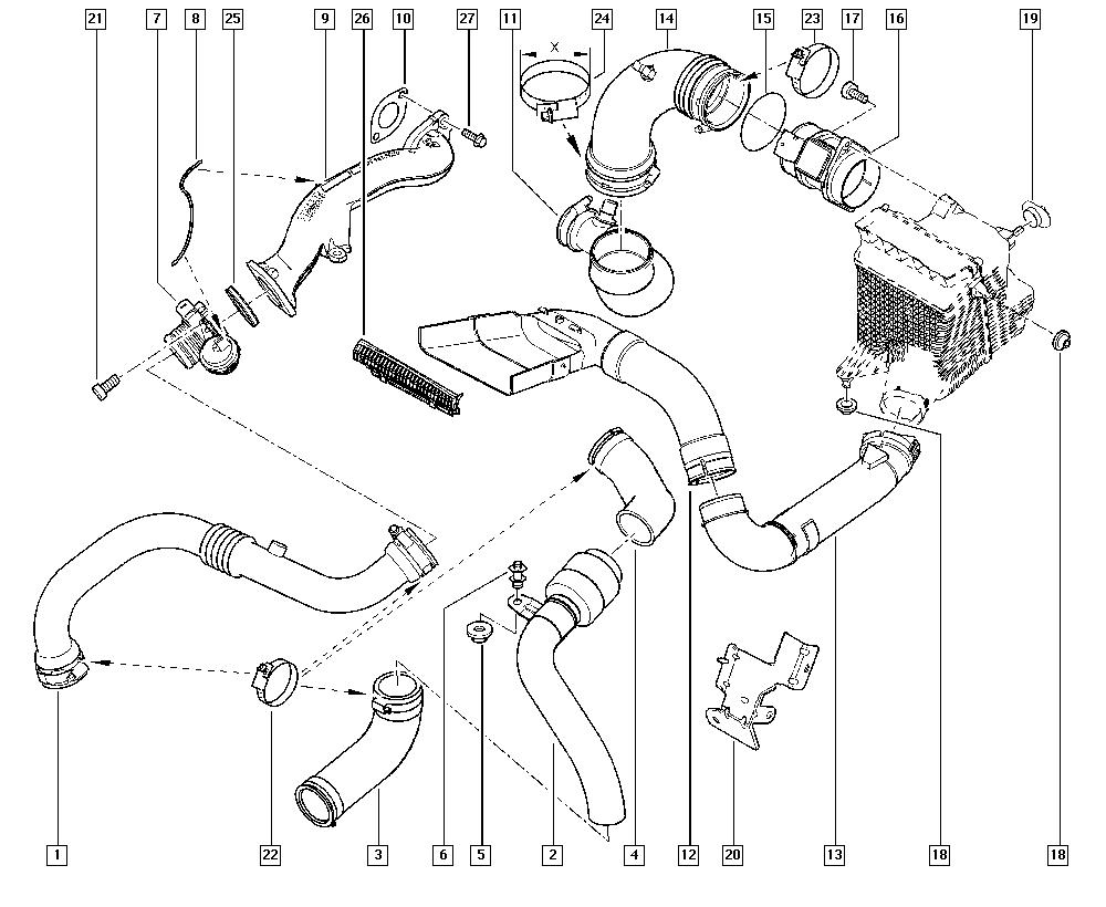 Scénic II, JM0G, Manual, 13 Fuel supply / Air filter hoses