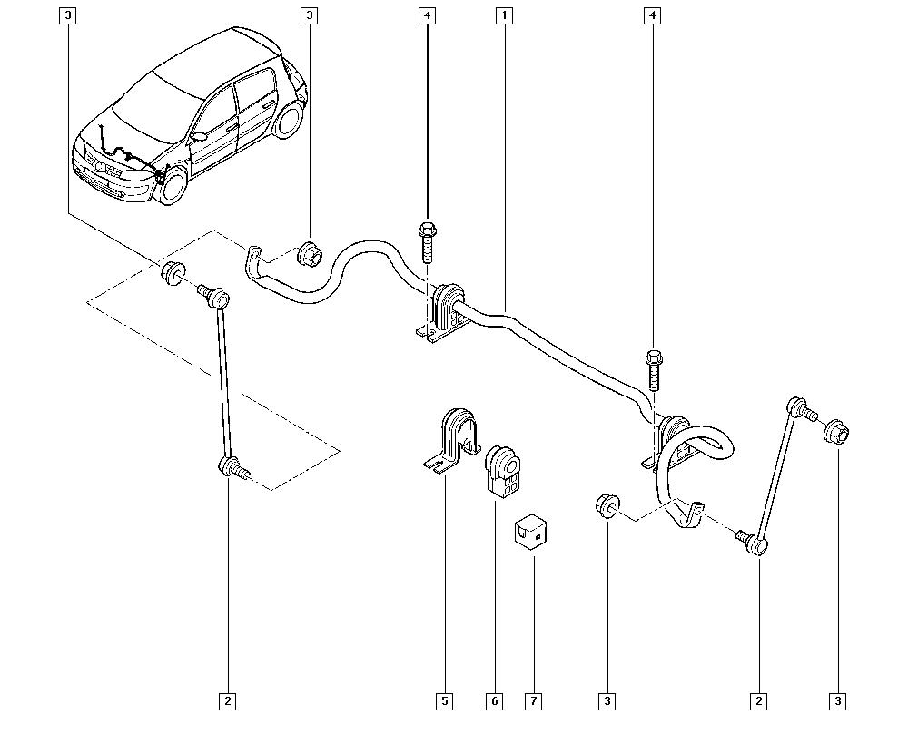 Mégane II, BM05, Manual, 32 Non bearing front elements