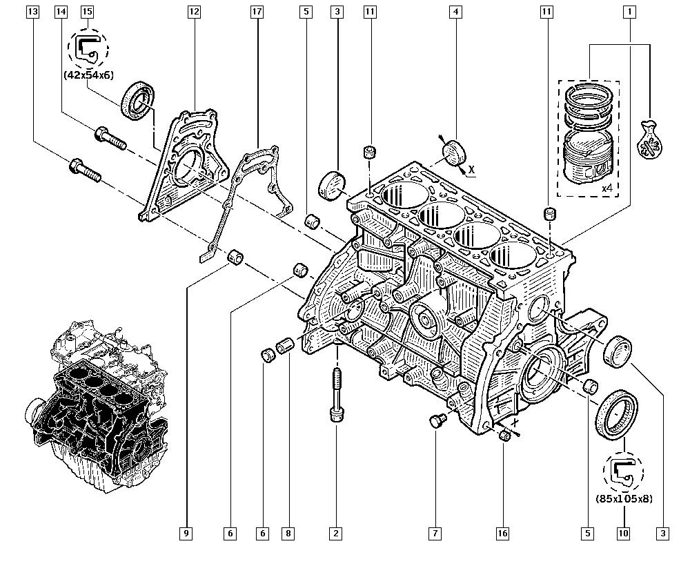 Clio III, CR0N, Manual, 10 Engine / Cylinder block