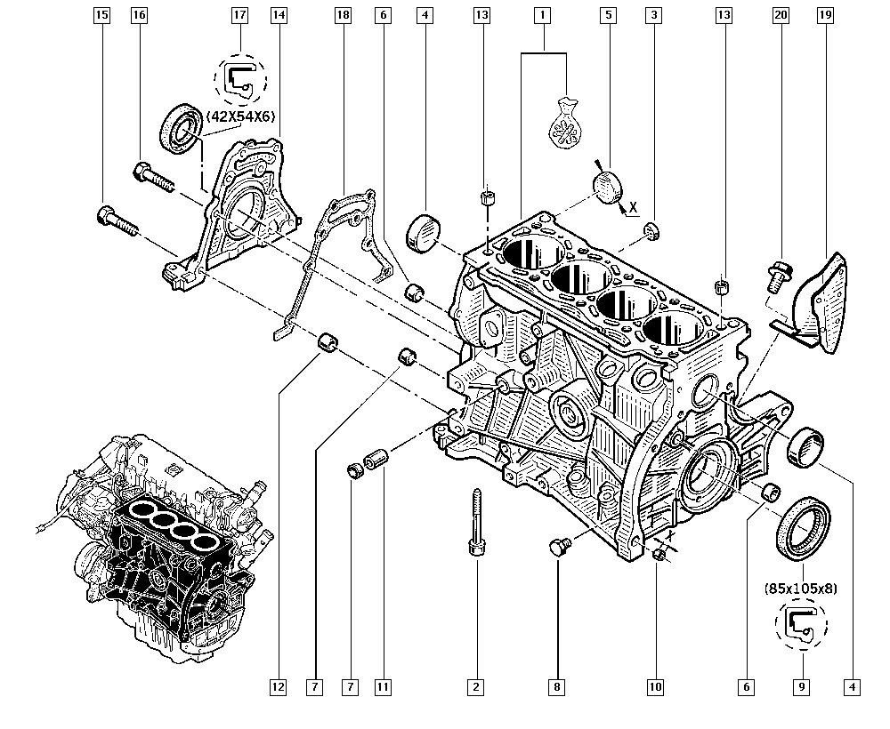Mégane III, KZ1S, Manual, 10 Engine / Cylinder block