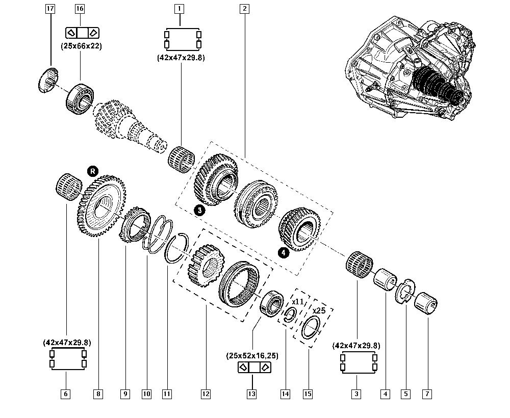 Trafic II, FL01, Manual, 21 Manual gearbox / Gearbox gears