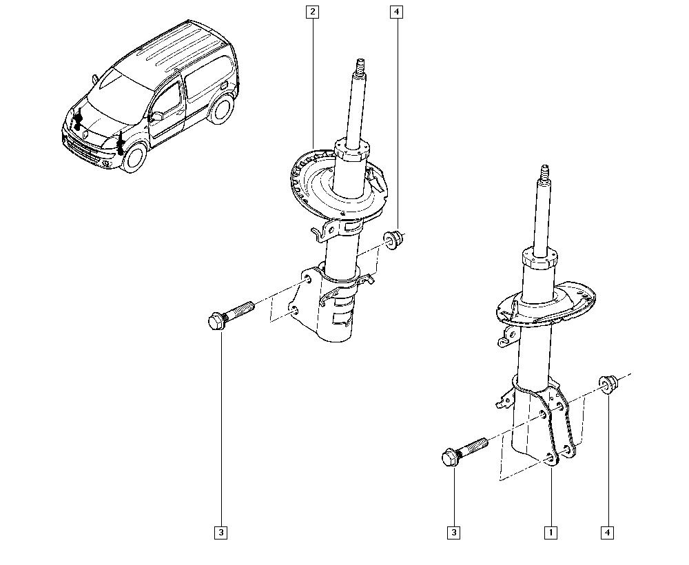 Kangoo II, KW0B, Manual, 32 Non bearing front elements