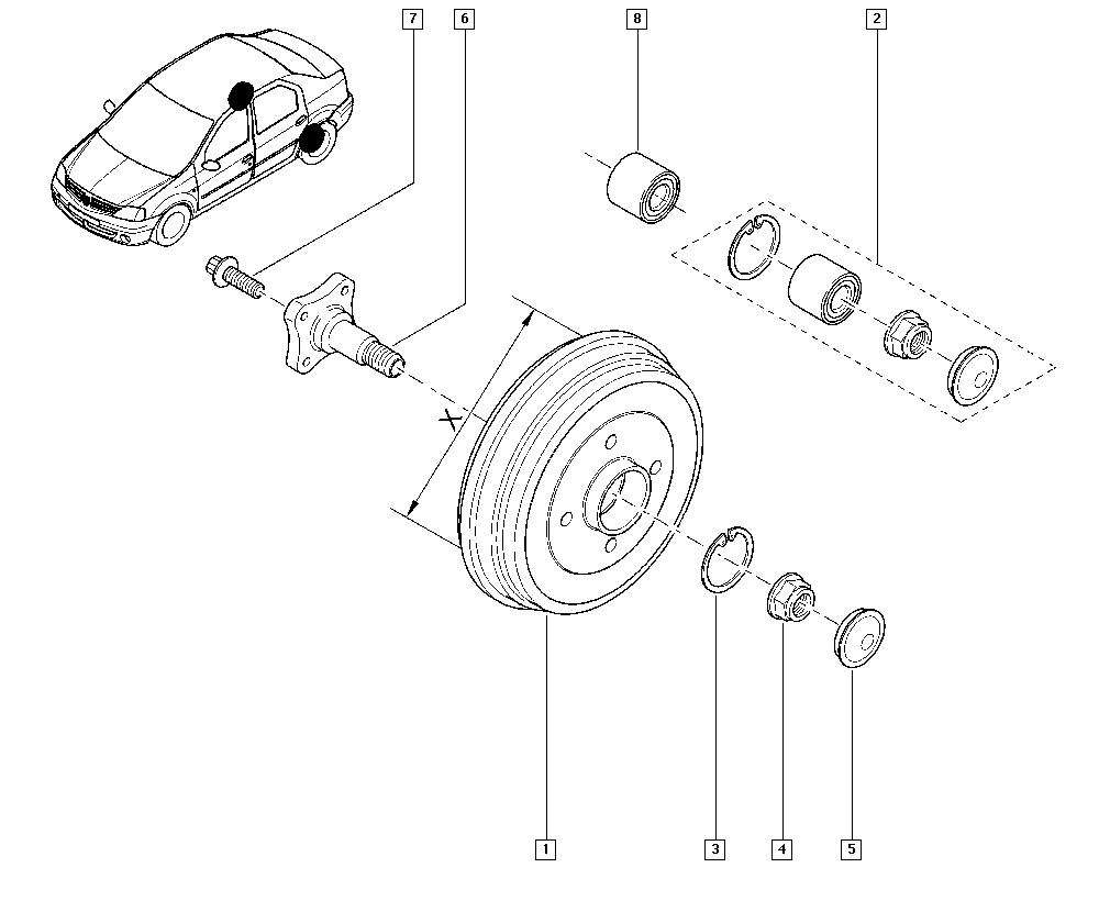 Logan Sandero I, LS0G, Manual, 33 Rear bearing elements