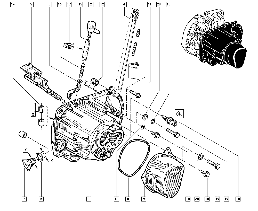 Clio II, CB1N, Manual, 21 Manual gearbox / Gearbox casings
