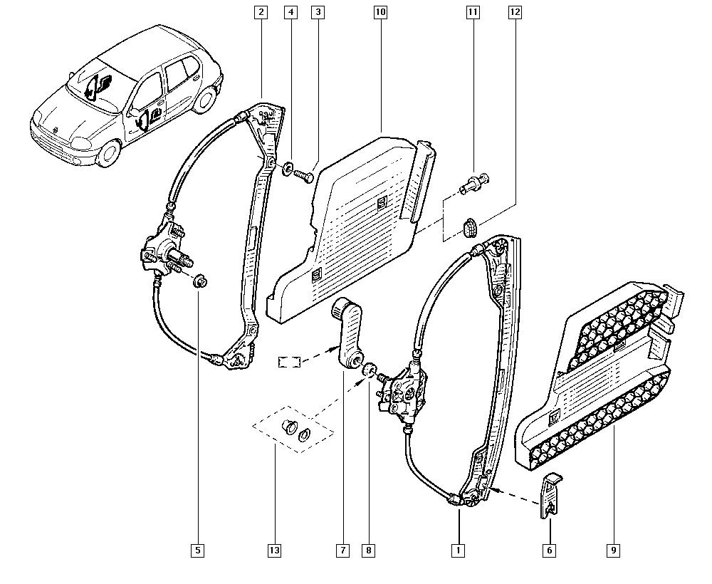 Clio II, BB0L, Bodywork, 50 Mechanisms / Manual windows