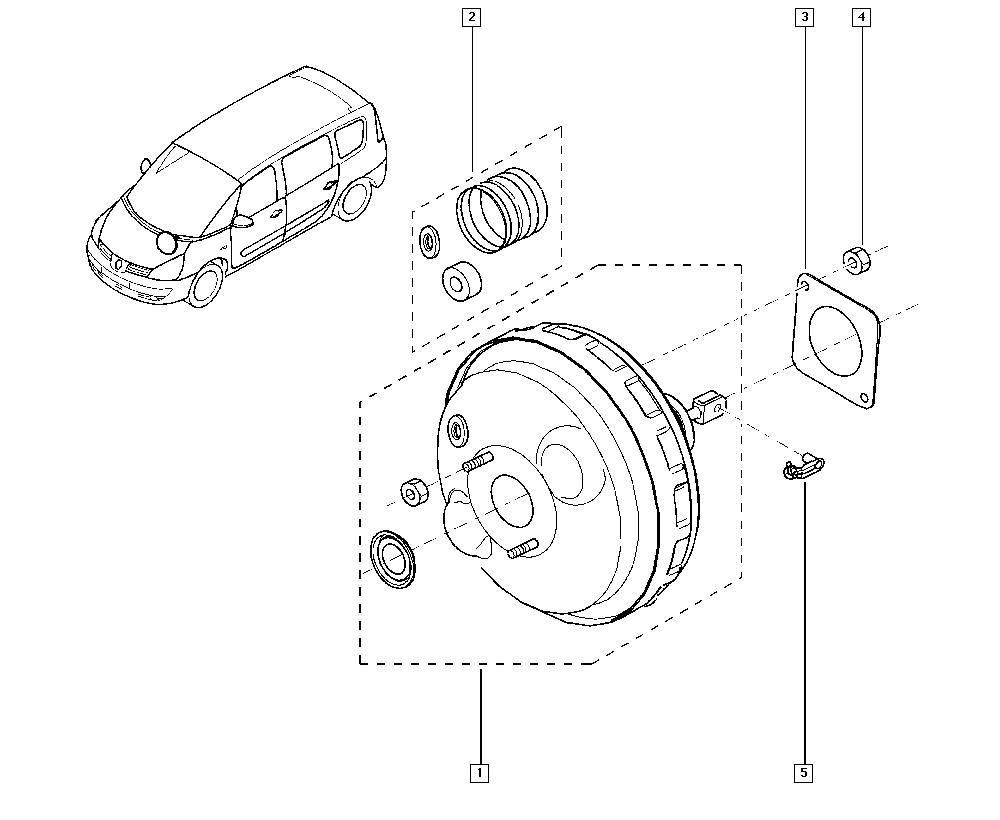 Espace IV, JK01, Manual, 37 Pedal assembly / Brake servo
