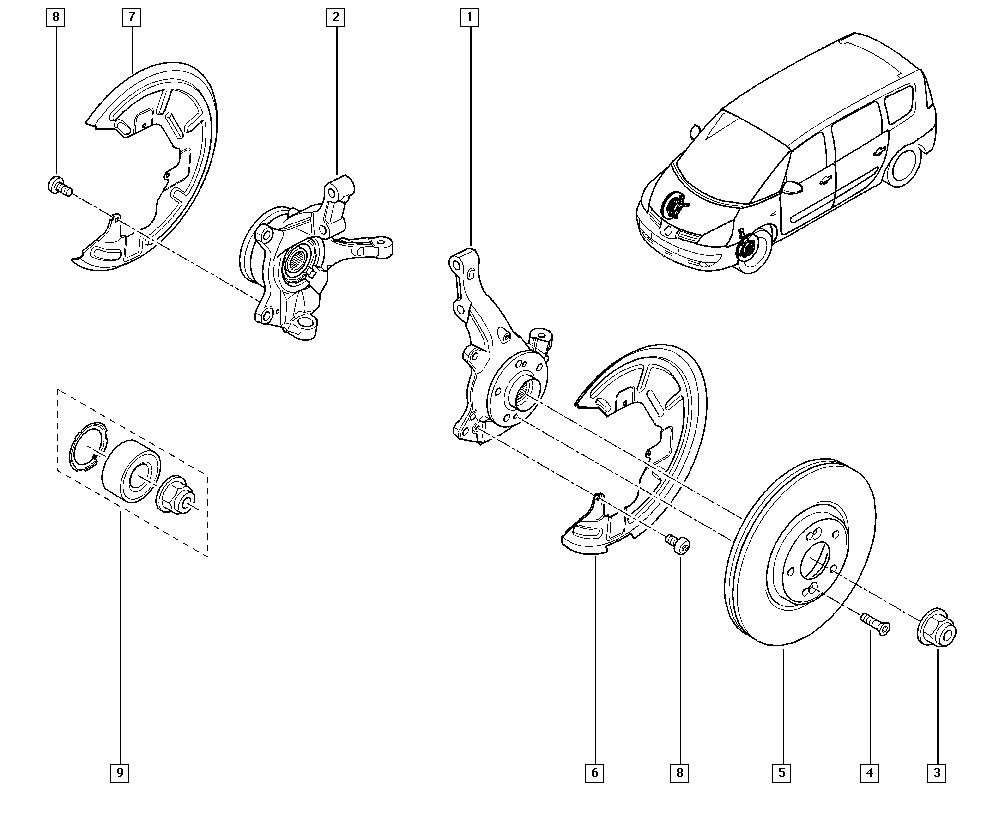 Espace IV, JK01, Manual, 31 Front bearing elements / Stub