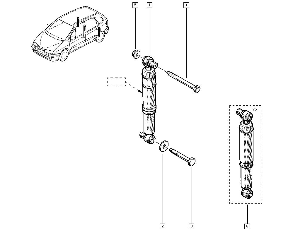 Scénic I, JA04, Manual, 34 Rear non-bearing elements