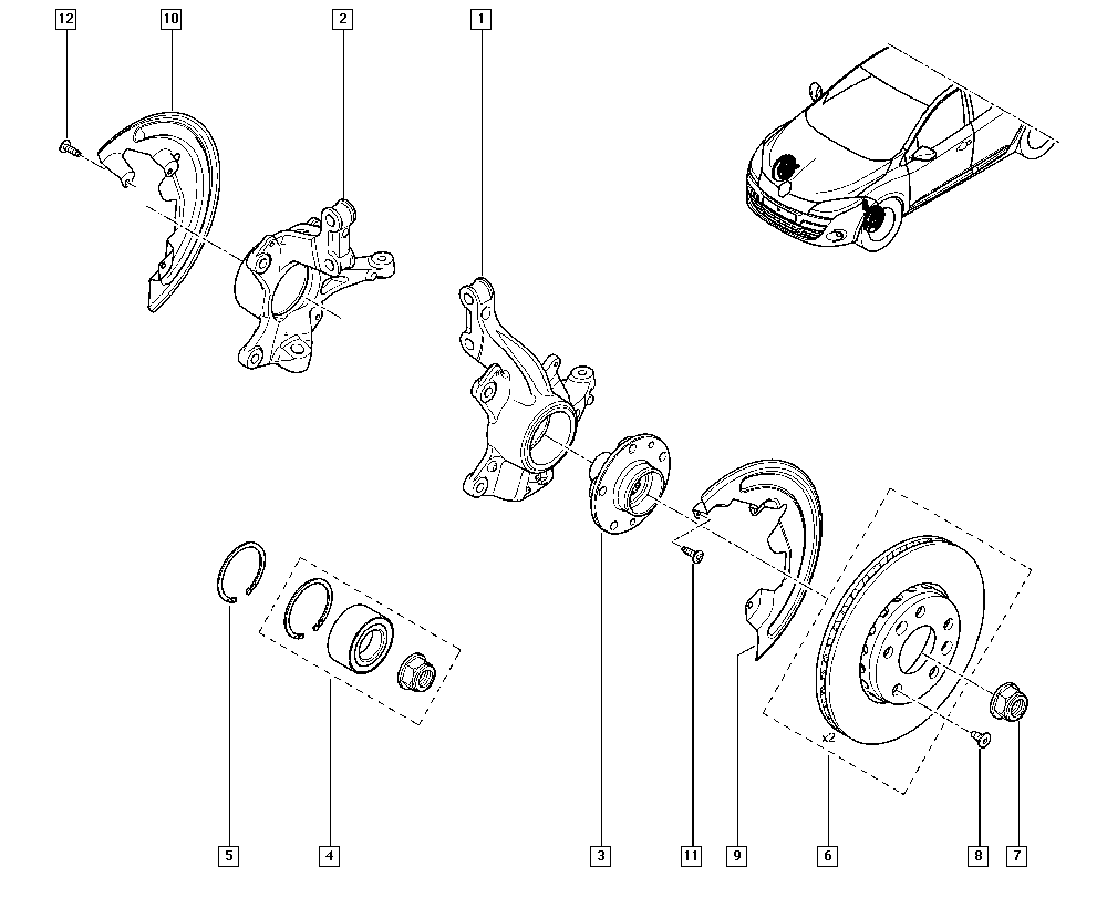Mégane III, BZ03, Manual, 31 Front bearing elements / Stub