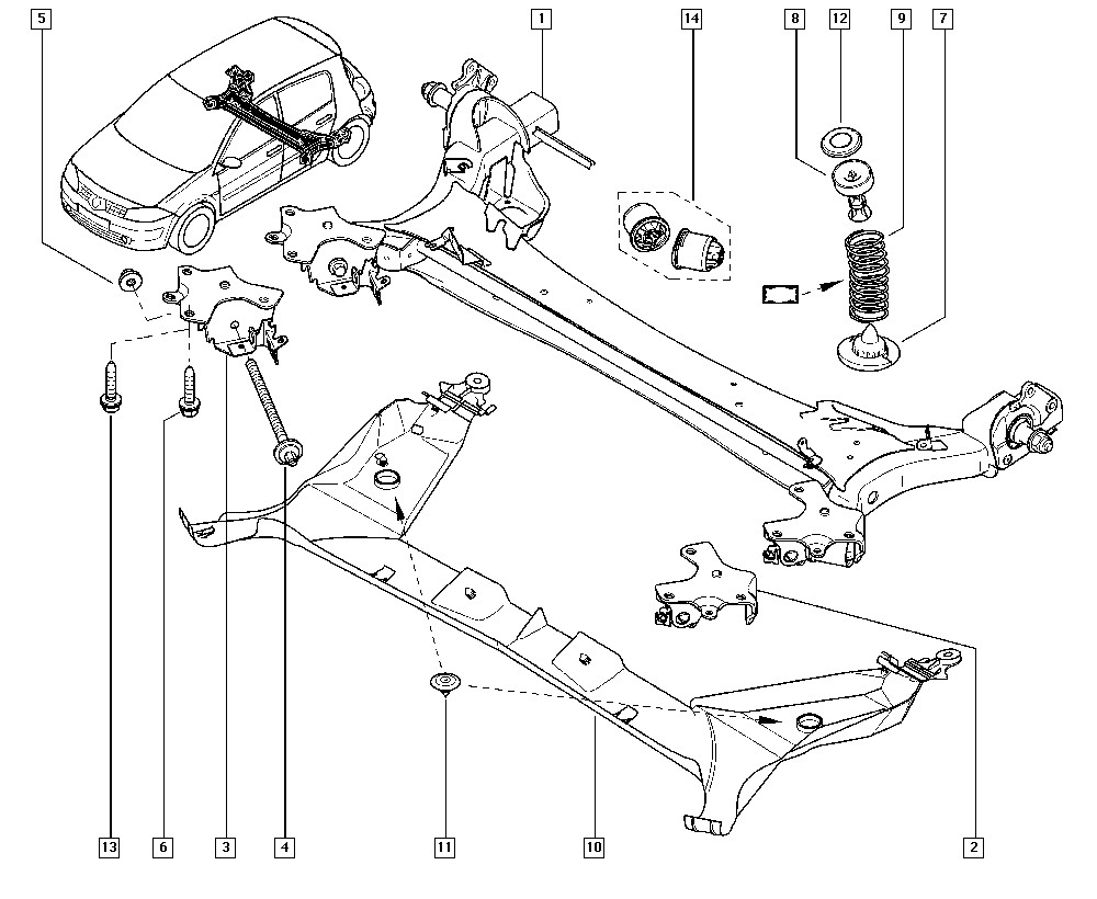 Mégane II, BM0C, Manual, 33 Rear bearing elements / Rear