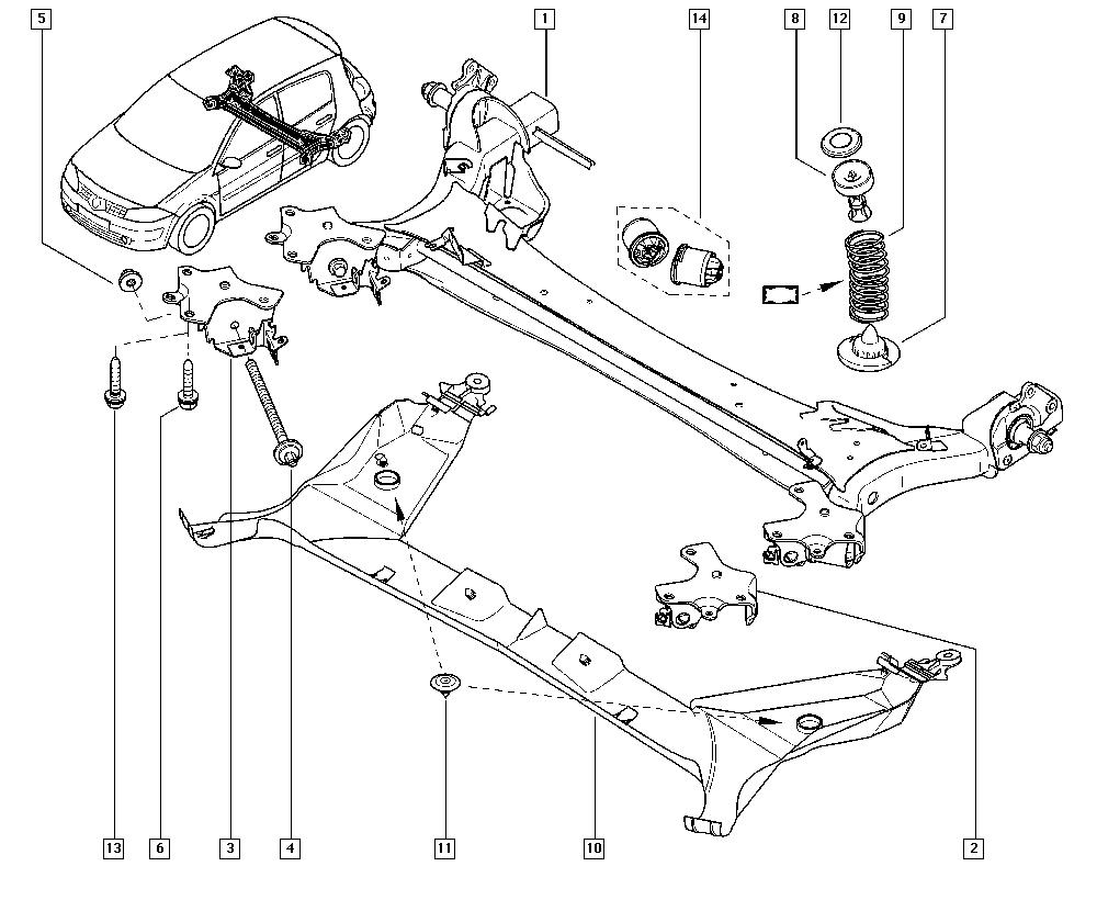 Mégane II, CM0M, Manual, 33 Rear bearing elements / Rear