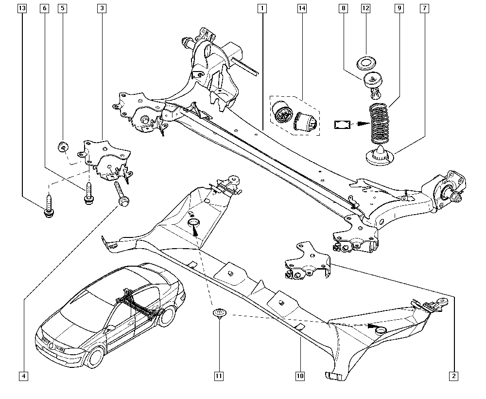 Mégane II, LM1B, Manual, 33 Rear bearing elements / Rear