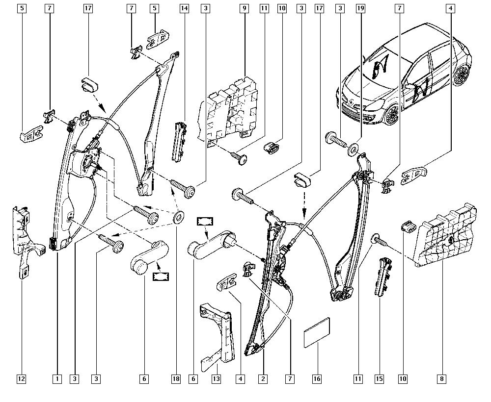 Clio III, CR0N, Bodywork, 50 Mechanisms / Manual windows