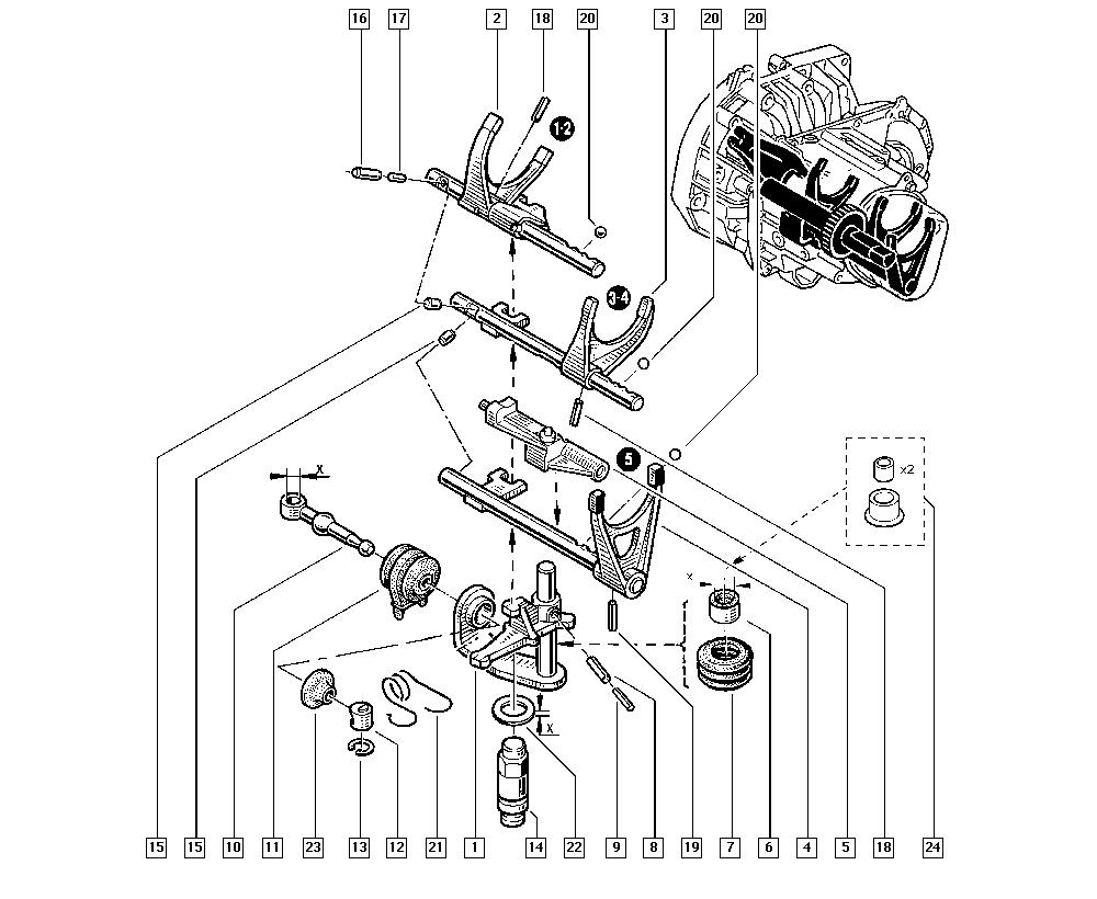Clio II, CB1N, Manual, 21 Manual gearbox / Gear selector