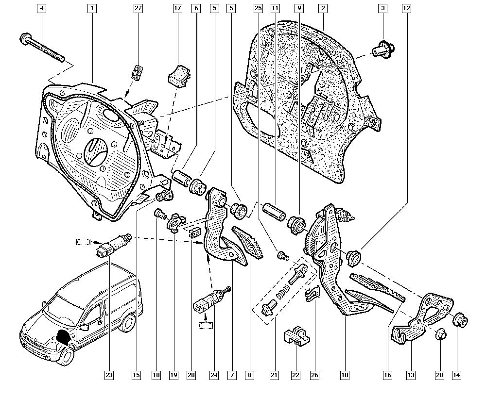 Kangoo, KC1N, Manual, 37 Pedal assembly / Pedal assembly