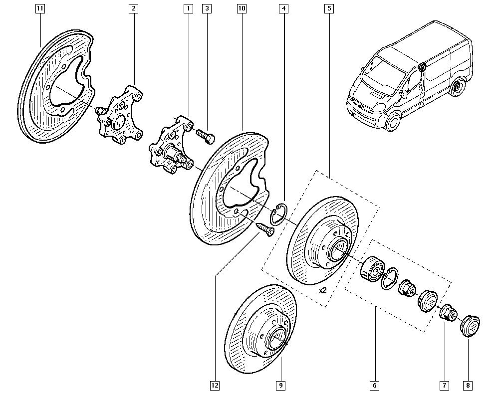 Trafic II, FL0H, Manual, 33 Rear bearing elements / Stub