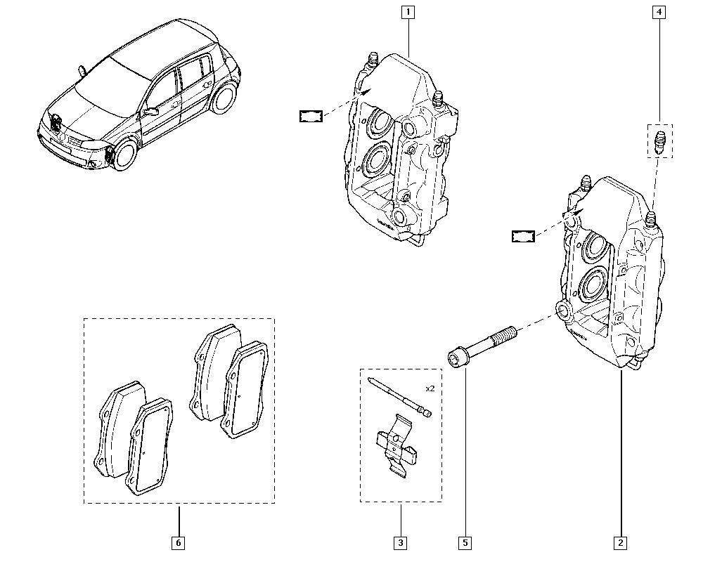 Mégane II, CM0M, Manual, 32 Non bearing front elements
