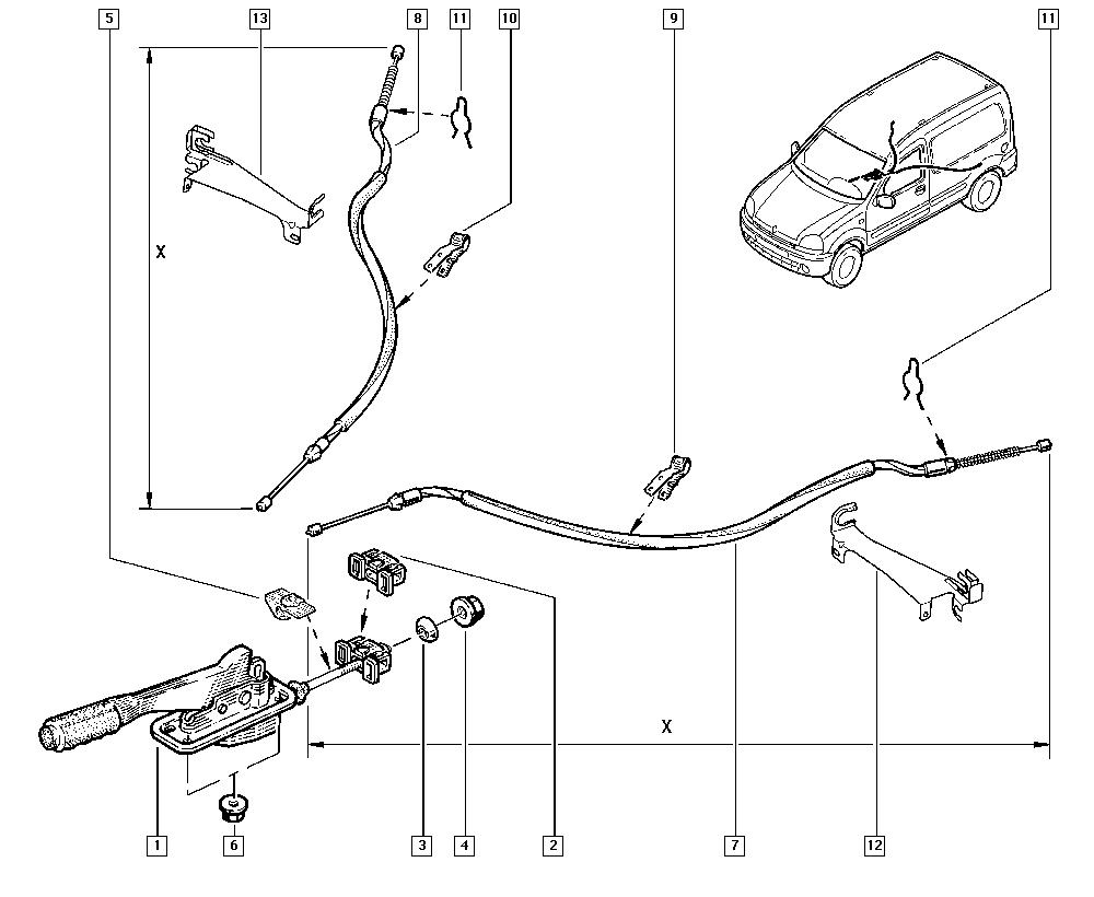 Kangoo, FC0M, Manual, 38 Hand controls / Hand brake
