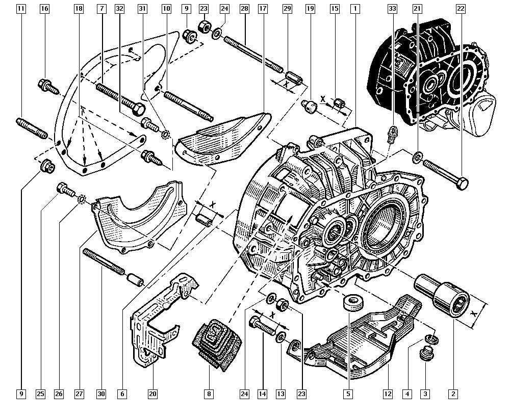 Clio II, BB0L, Manual, 21 Manual gearbox / Gearbox casings