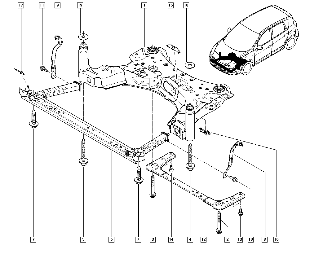 Scénic III, JZ00, Manual, 31 Front bearing elements