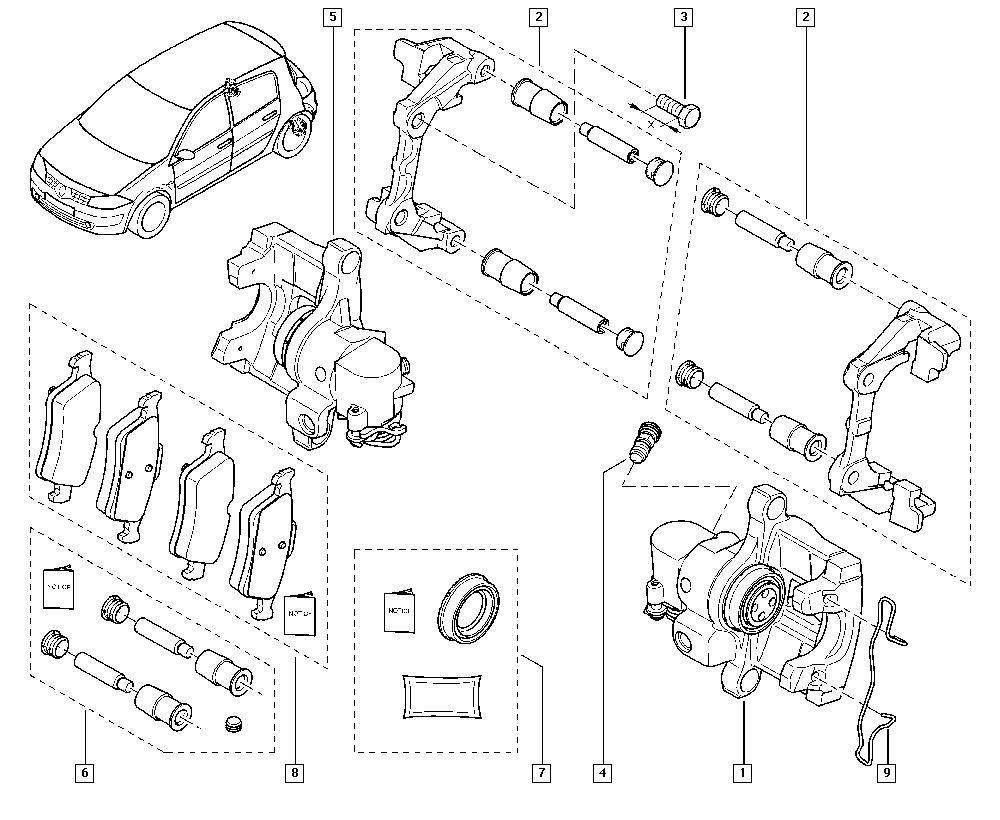 Mégane II, CM0M, Manual, 34 Rear non-bearing elements