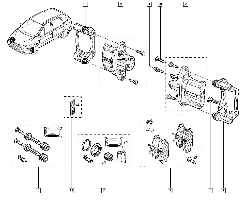 Scénic I, JA1J, Manual, 32 Non bearing front elements