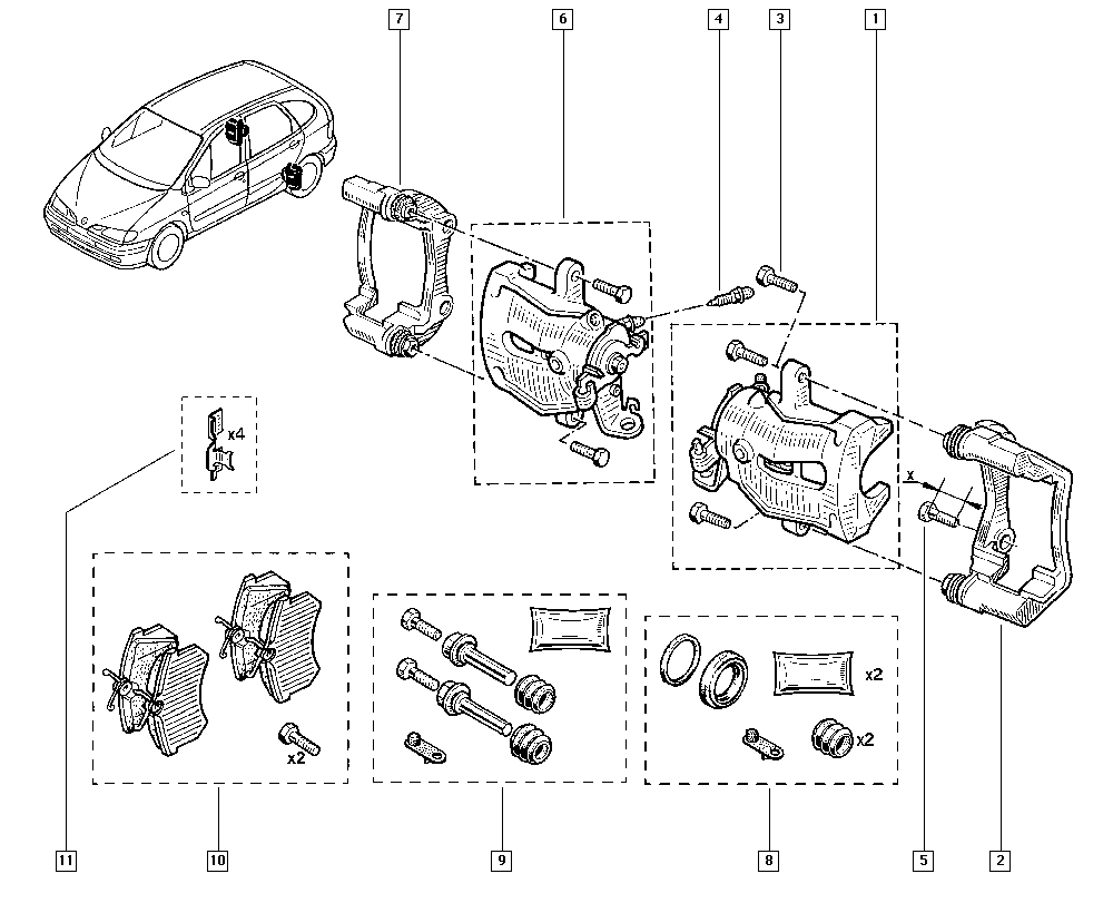 Scénic I, JA16, Manual, 34 Rear non-bearing elements