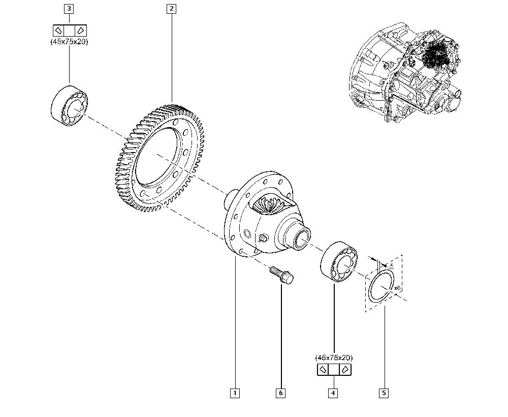 Mégane II, BM0M, Manual, 21 Manual gearbox / Differential