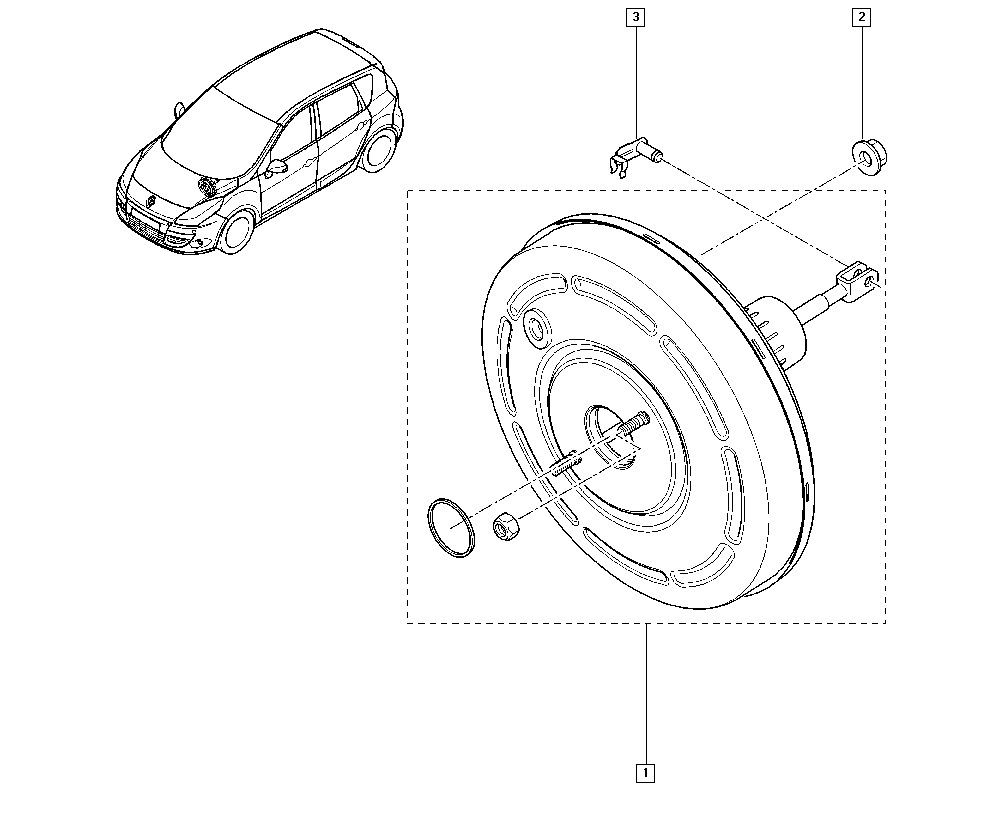Scénic III, JZ0U, Manual, 37 Pedal assembly / Brake servo