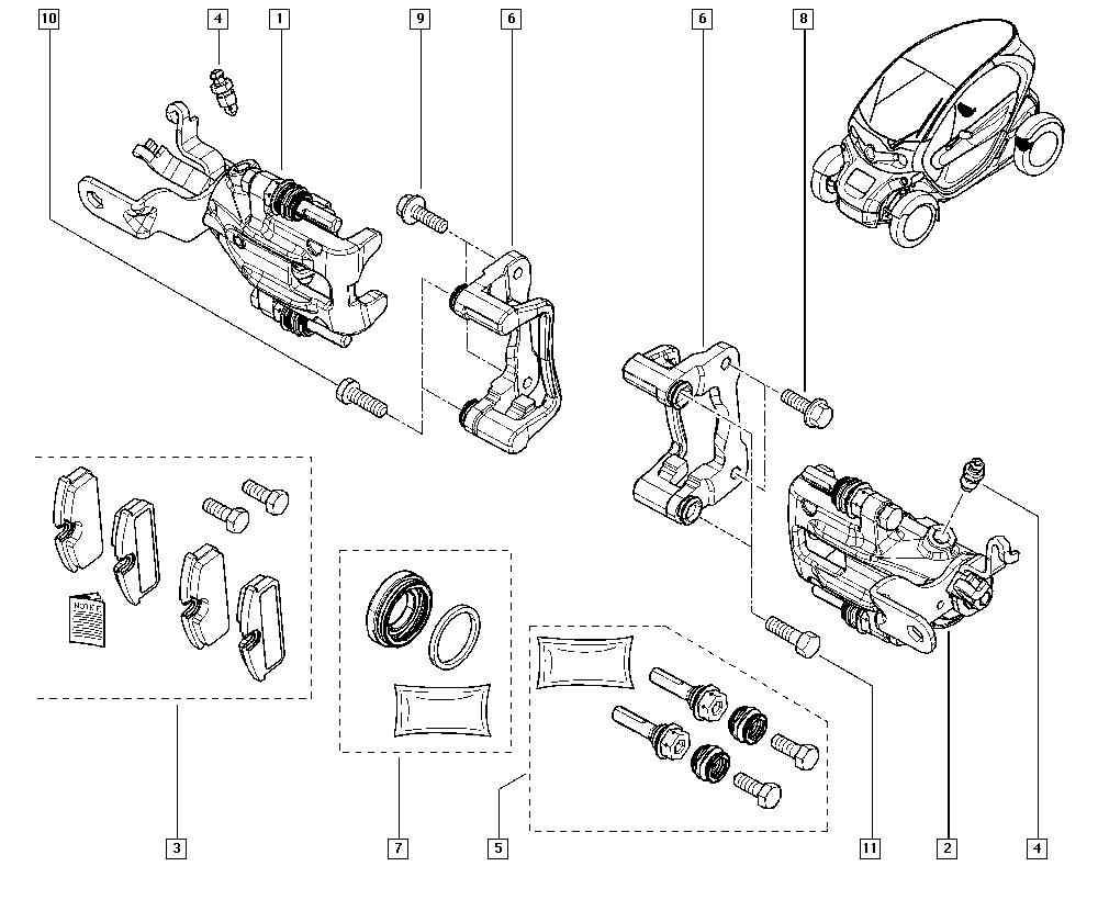 Twizy, MAMA, Manual, 34 Rear non-bearing elements / Brake