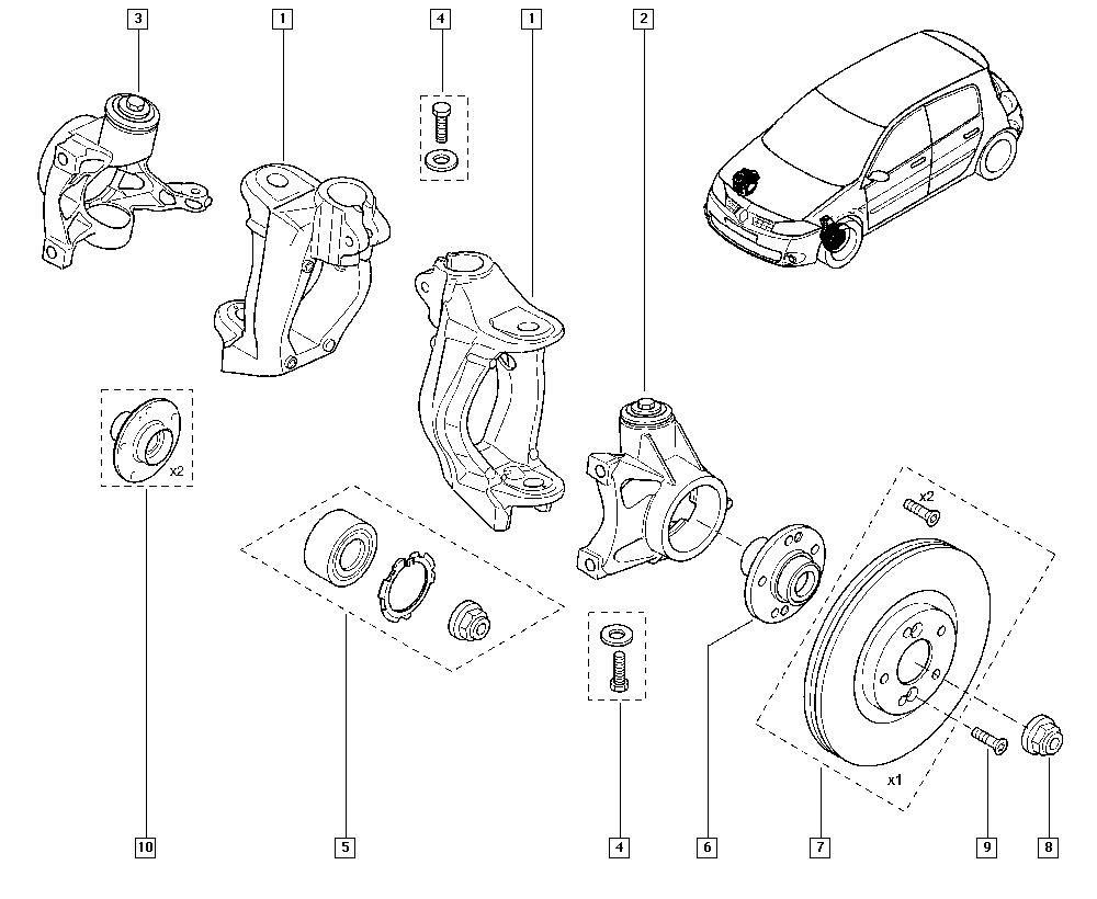 Mégane II, CM0M, Manual, 31 Front bearing elements / Stub