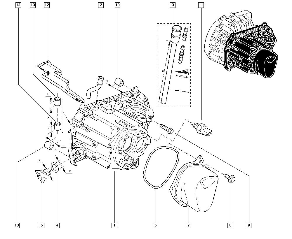 Kangoo, FC1F, Manual, 21 Manual gearbox / Gearbox casings