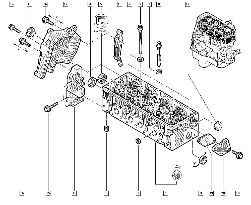 Kangoo, FC0C, Manual, 11 Upper engine / Cylinder head