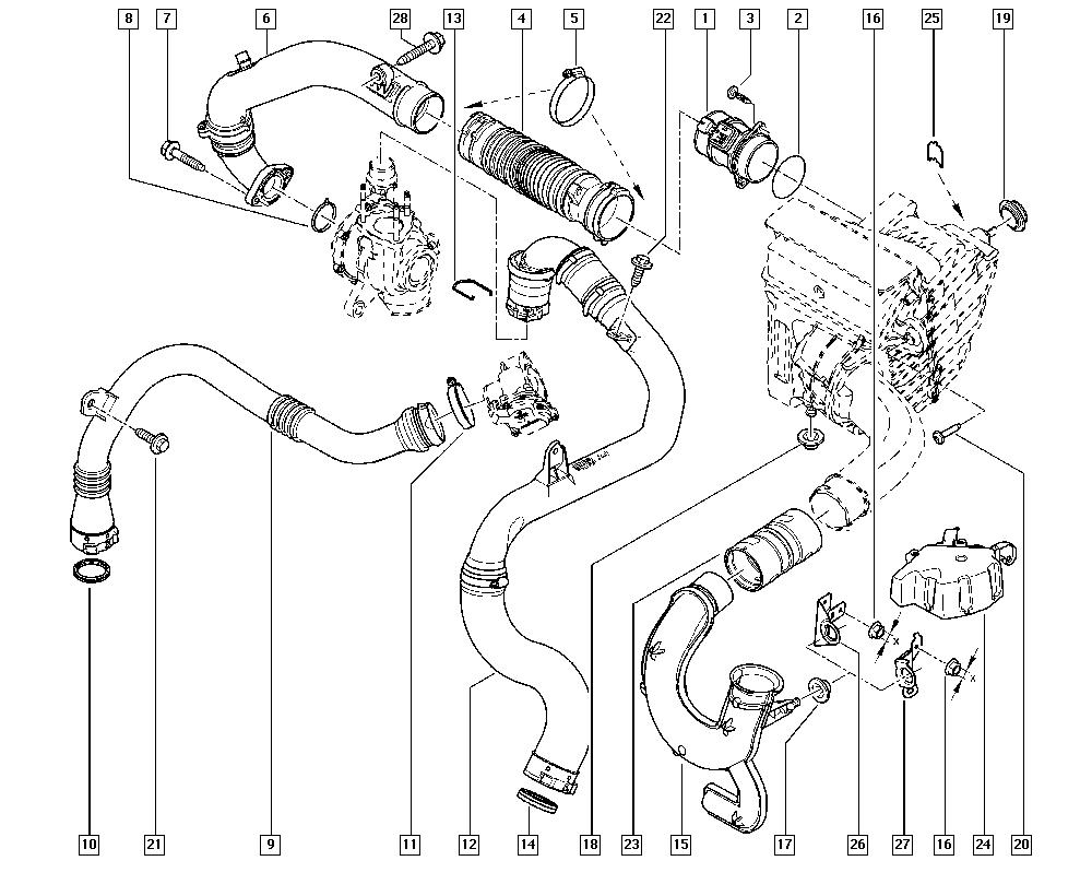 Mégane III, KZ1S, Manual, 13 Fuel supply / Air filter