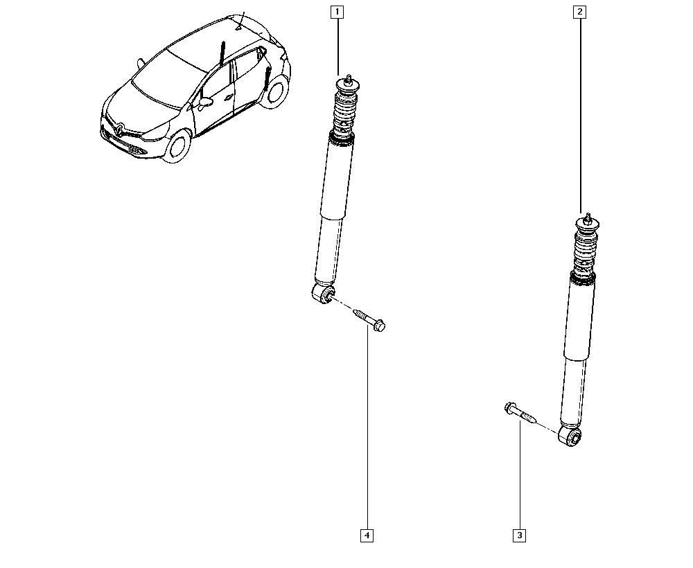 Clio IV, KHAL, Manual, 34 Rear non-bearing elements