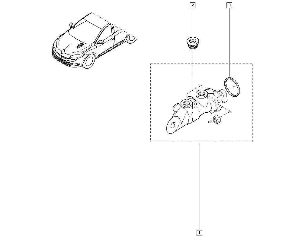 Mégane III, DZ18, Manual, 37 Pedal assembly / Brake master