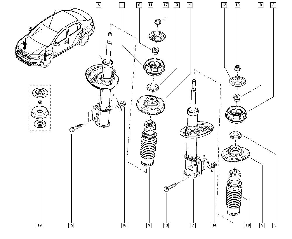 Logan Sandero II, B8A0, Manual, 32 Non bearing front