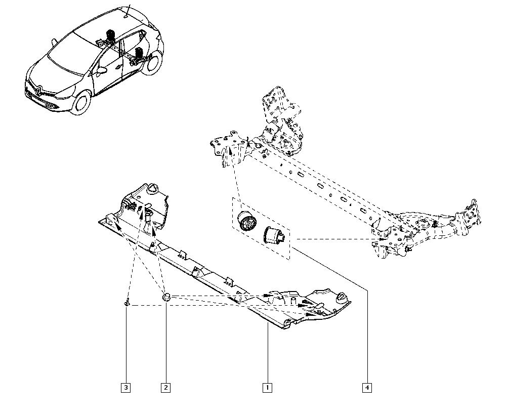 Clio IV, BHM6, Manual, 33 Rear bearing elements / Rear