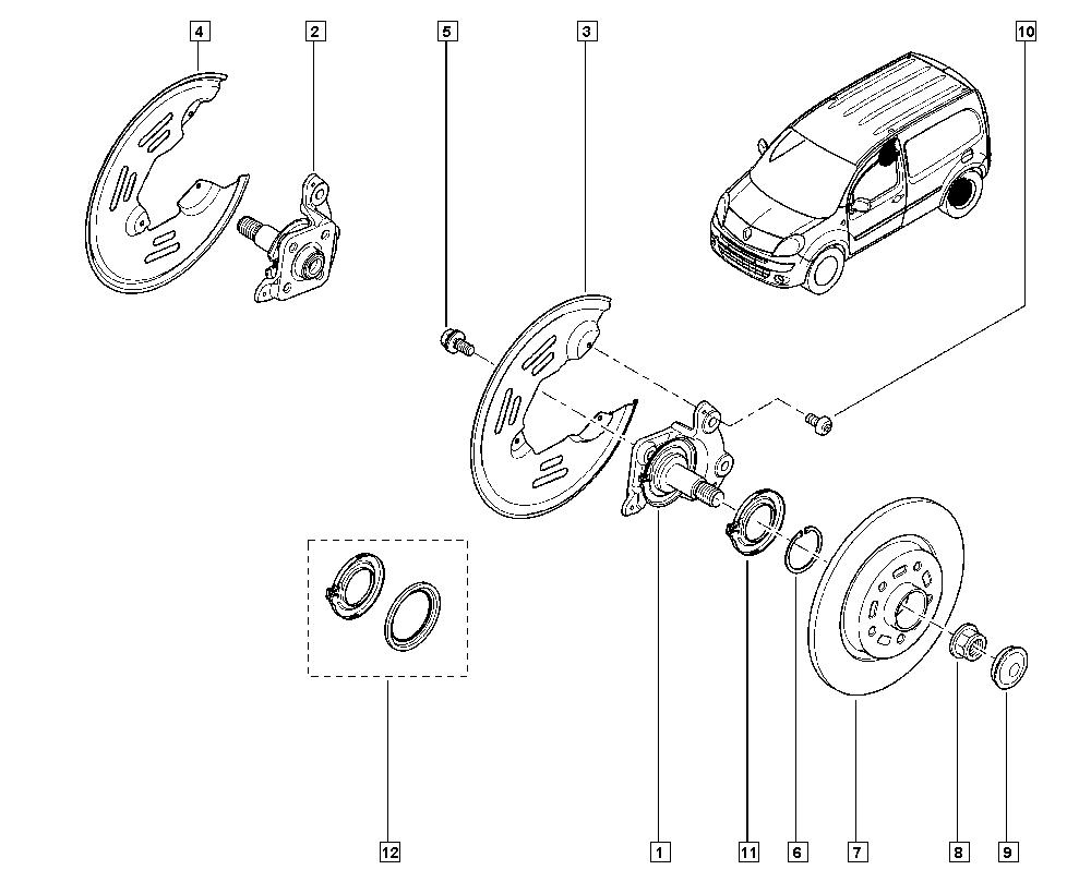 Kangoo II, FW0U, Manual, 33 Rear bearing elements / Stub