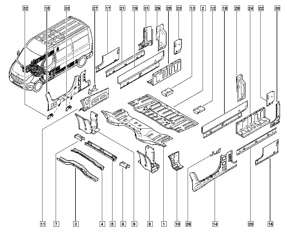 Master III, JV0G, Bodywork, 41 Lower units / Centre floor