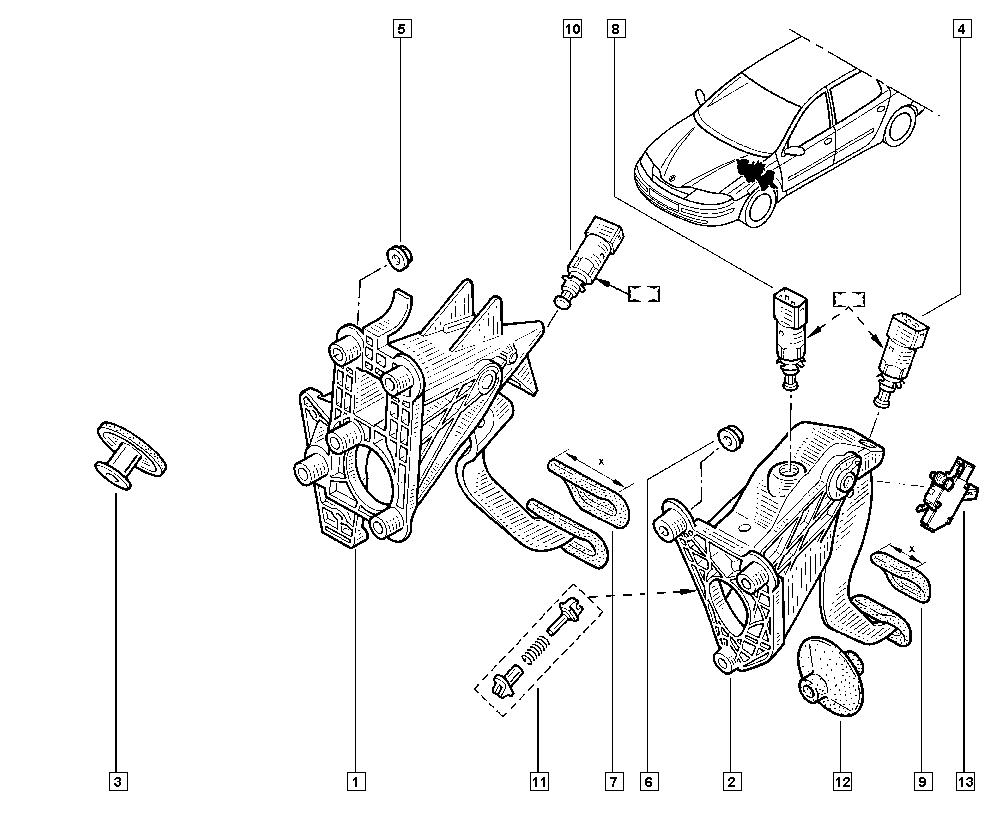 Laguna II, BG0K, Manual, 37 Pedal assembly / Pedal
