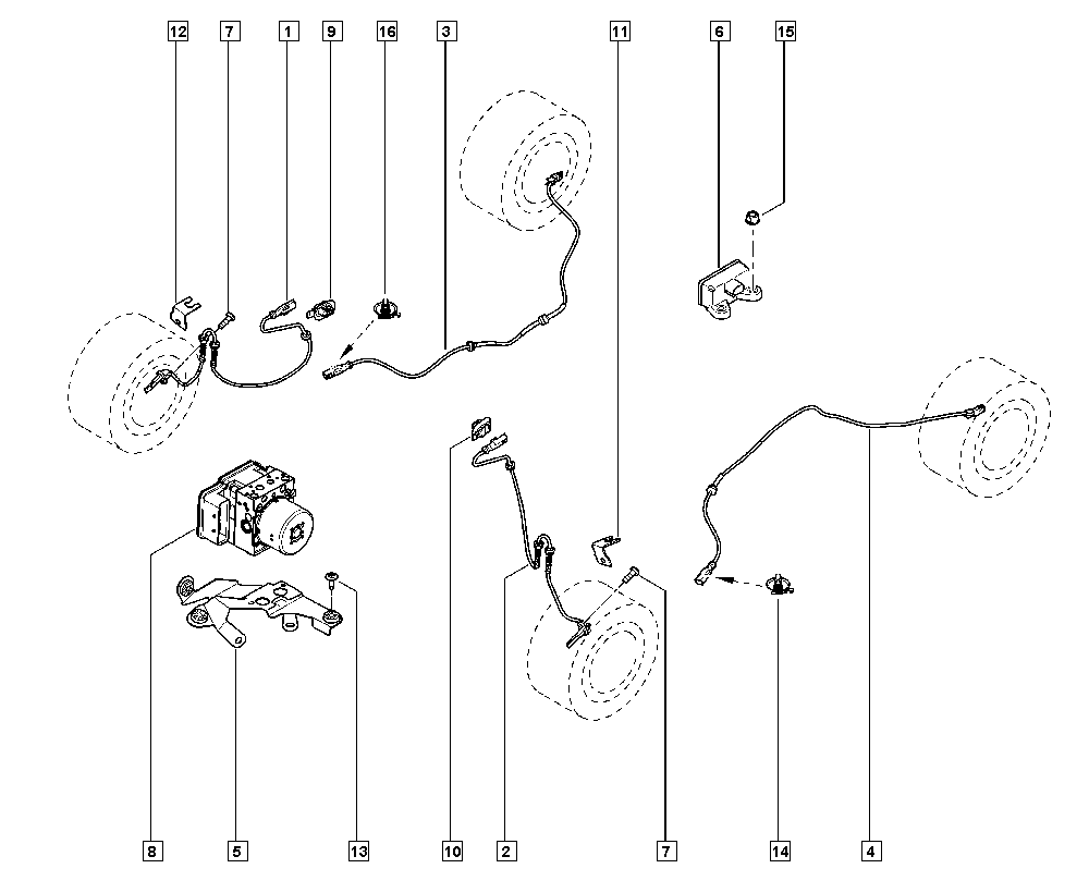 Mégane III, BZ09, Manual, 37 Pedal assembly / Anti-lock