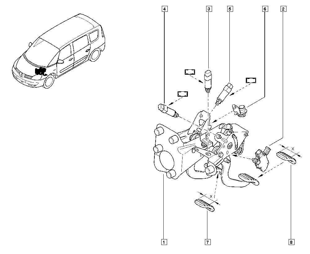 Espace IV, JK01, Manual, 37 Pedal assembly / Pedal