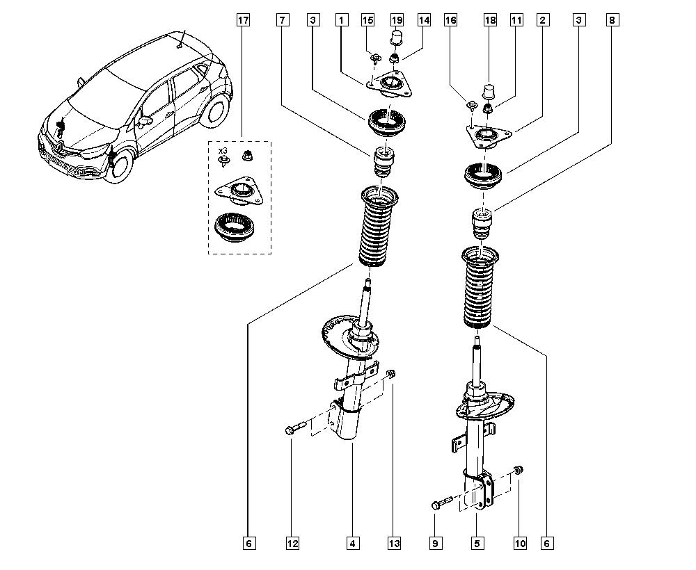 Captur, J5A2, Manual, 32 Non bearing front elements