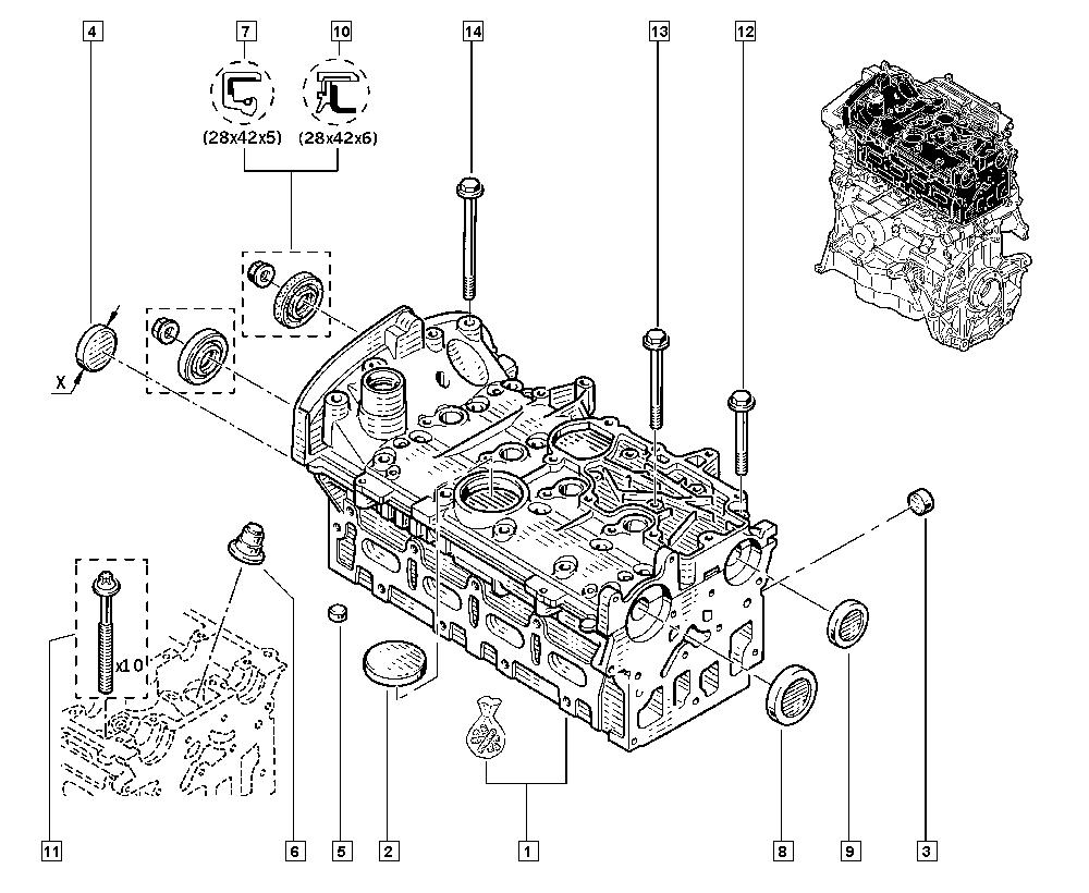 Kangoo, KC0S, Manual, 11 Upper engine / Cylinder head