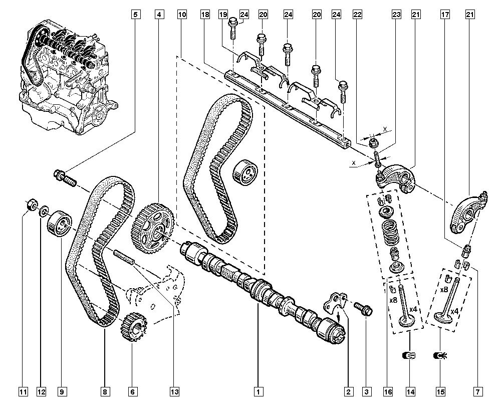 Mégane, BA0E, Manual, 11 Upper engine / Valve timing