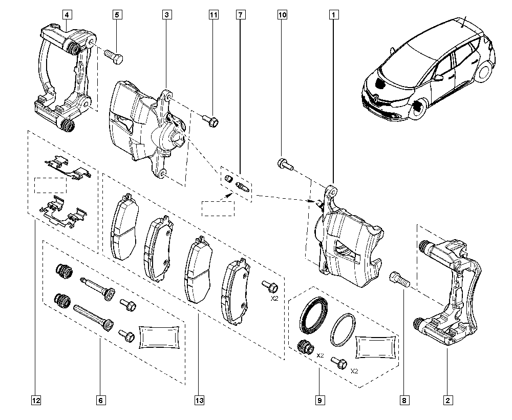Scénic IV, R9A5, Manual, 32 Non bearing front elements