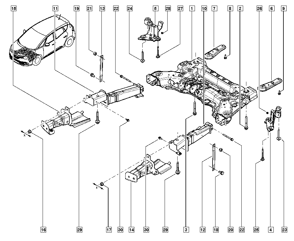 Scénic IV, R9A5, Manual, 31 Front bearing elements / Front